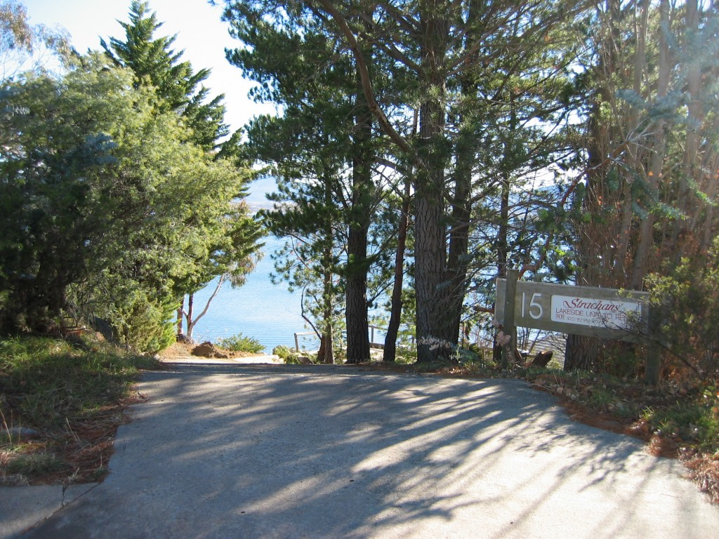 Driveway from street down to parking area & house right on the lake