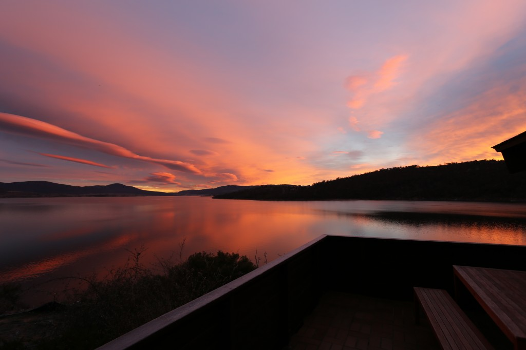 Sunrise over Lake Jindabyne from Apartment 1 balcony