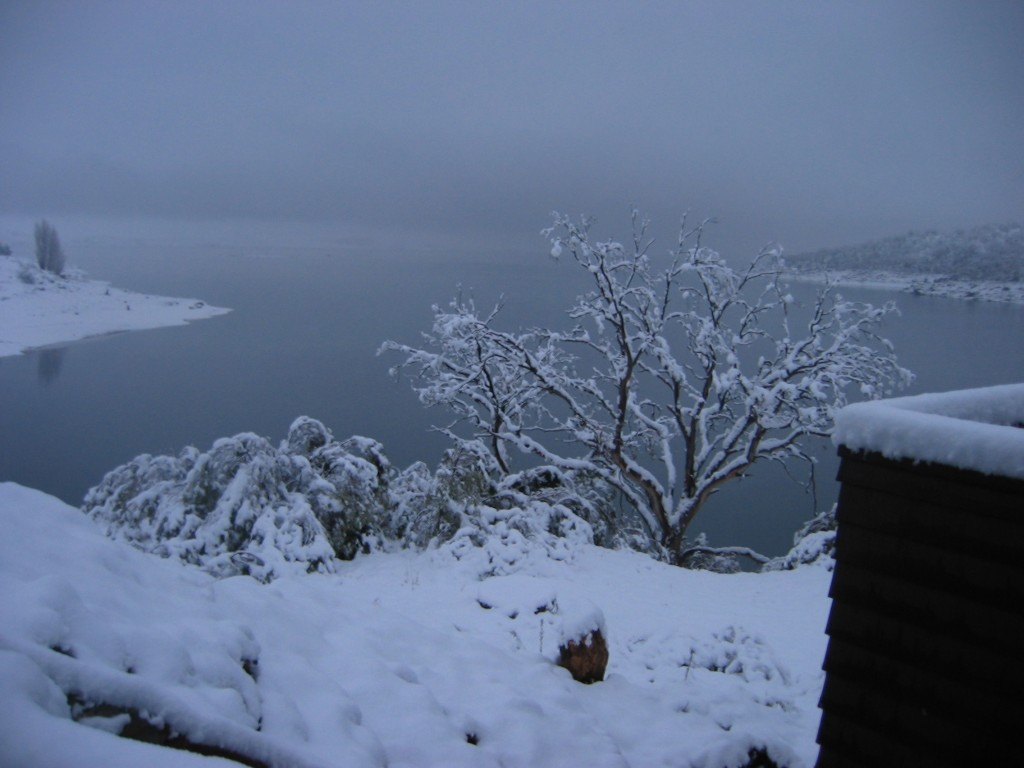 Snowy view down the lake